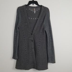 Free People Long Gray Cardigan Sweater Size L